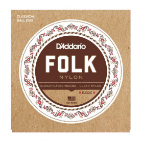 D`ADDARIO EJ32C FOLK NYLON Ball End Silver Wound / Clear Treble Струны фото