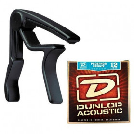 DUNLOP 83CBA 12 AC TRIGGER ACOUSTIC CAPO PLUS STRINGS Каподастр фото