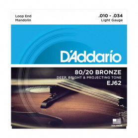 D`ADDARIO EJ62 MANDOLIN 80/20 BRONZE LIGHT 10-34 Струны для мандолины фото