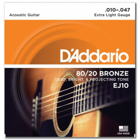 D`ADDARIO EJ10 80/20 BRONZE EXTRA LIGHT 10-47 Струны