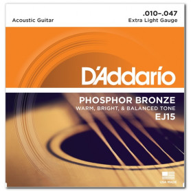 D`ADDARIO EJ15 PHOSPHOR BRONZE EXTRA LIGHT 10-47 Струны