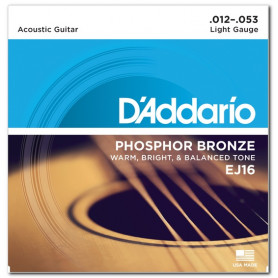 D`ADDARIO EJ16 PHOSPHOR BRONZE LIGHT 12-53 Струны