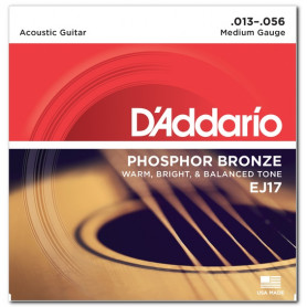 D`ADDARIO EJ17 PHOSPHOR BRONZE MEDIUM 13-56 Струны