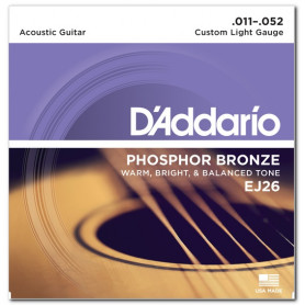 D`ADDARIO EJ26 PHOSPHOR BRONZE CUSTOM LIGHT 11-52 Струны