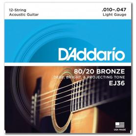 D`ADDARIO EJ36 80/20 BRONZE LIGHT 12-STRING 10-47 Струны