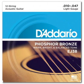 D`ADDARIO EJ38 PHOSPHOR BRONZE LIGHT 12-STRING 10-47 Струны