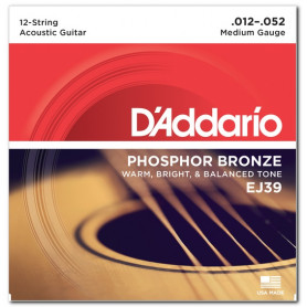 D`ADDARIO EJ39 PHOSPHOR BRONZE MEDIUM 12-STRING 12-52 Струны