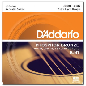 D`ADDARIO EJ41 PHOSPHOR BRONZE 12-STRING X-LIGHT 09-45 Струны