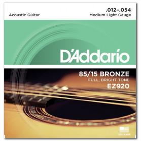 D`ADDARIO EZ920 BRONZE MEDIUM LIGHT 12-54 Струны