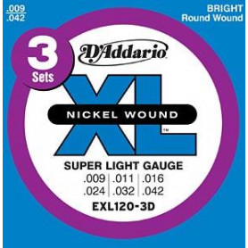 D`ADDARIO EXL120-3D XL SUPER LIGHT (09-42) - 3 SET Струны