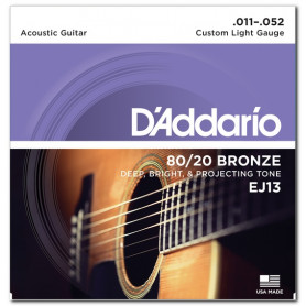 D`ADDARIO EJ13 80/20 BRONZE CUSTOM LIGHT 11-52 Струны