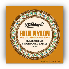 D`ADDARIO EJ32 FOLK NYLON Ball End Silver Wound / Black Treble Струны