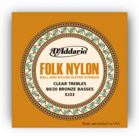 D`ADDARIO EJ33 FOLK NYLON 80/20 Bronze Ball End Clear Treble Струны