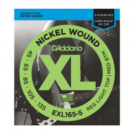 D`ADDARIO EXL165-5 XL REG LIGHT TOP / MED BOTTOM 5 STRING 45-135 Струны