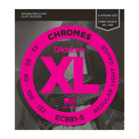 D`ADDARIO ECB81-5 XL CHROMES FLATWOUND BASS 5 45-132 Струны