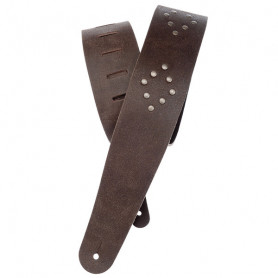 PLANET WAVES PW25VNRD01DX Blasted Leather Guitar Strap, Brown with Brass Rivets Ремень гитарный фото