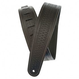 PLANET WAVES PW25WSTB00 Basket Weave Embossed Leather Guitar Strap, Black Ремень гитарный фото