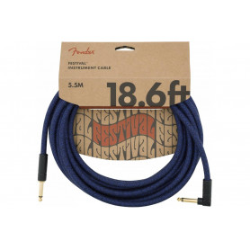 FENDER 18.6' ANGLED FESTIVAL INSTRUMENT CABLE PURE HEMP BLUE