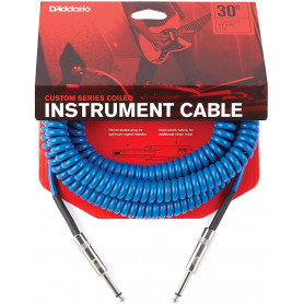D`ADDARIO PW-CDG-30BU Coiled Instrument Cable - Blue Кабель фото