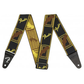 "FENDER 2"" WEIGHLESS MONOGRAMMED STRAP BLACK/YELLOW/BROWN Ремень"